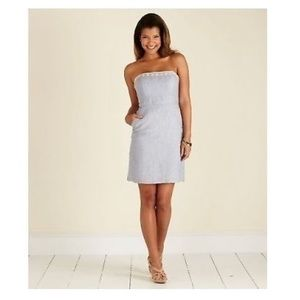 Vineyard vines blue linen strapless dress